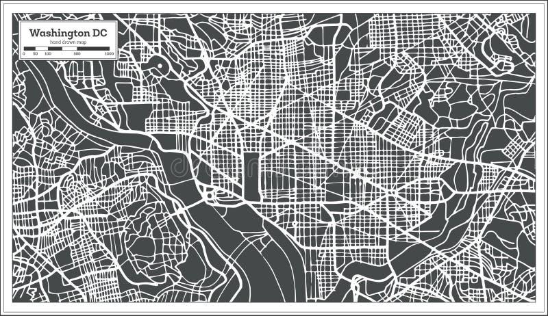 Washington DC usa mapa w Retro stylu ilustracja wektor