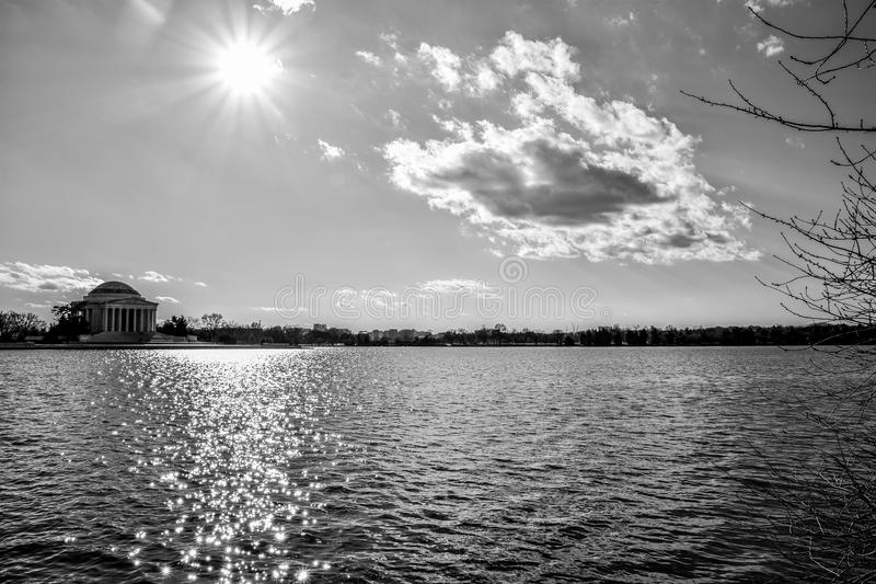 Washington DC, USA. Panoramic view of Thomas Jefferson Memorial, close-up in black and white. royalty free stock images