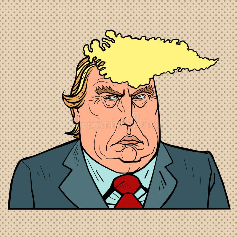 Caricature of Greenland and Donald Trump. US President with Danish Island Hairstyle stock illustration