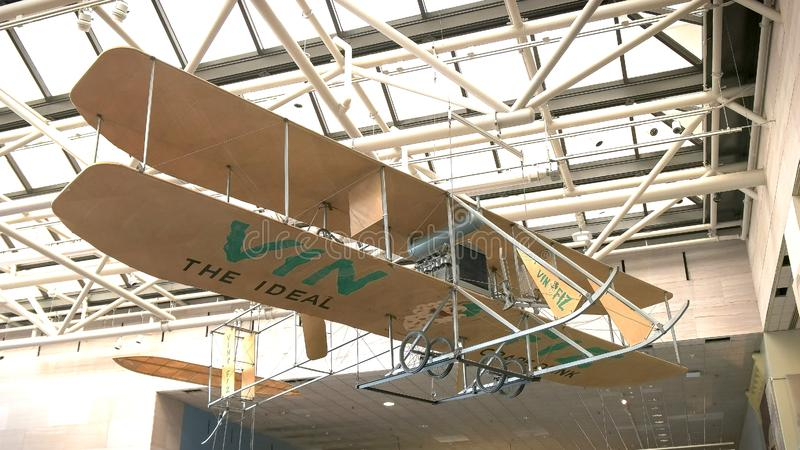 WASHINGTON, DC, USA - SEPTEMBER 10, 2015: The Vin Fiz Flyer an early Wright Brothers Model EX pusher biplane. That in 1911 became the first aircraft to fly stock photo