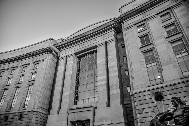 Washington DC, USA. View of The Ronald Reagan Building in black and white. royalty free stock photo