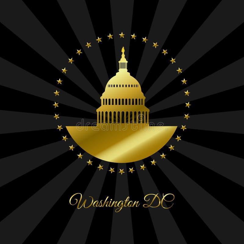 Washington DC złoty symbol odizolowywający na czarnym promienia tle royalty ilustracja