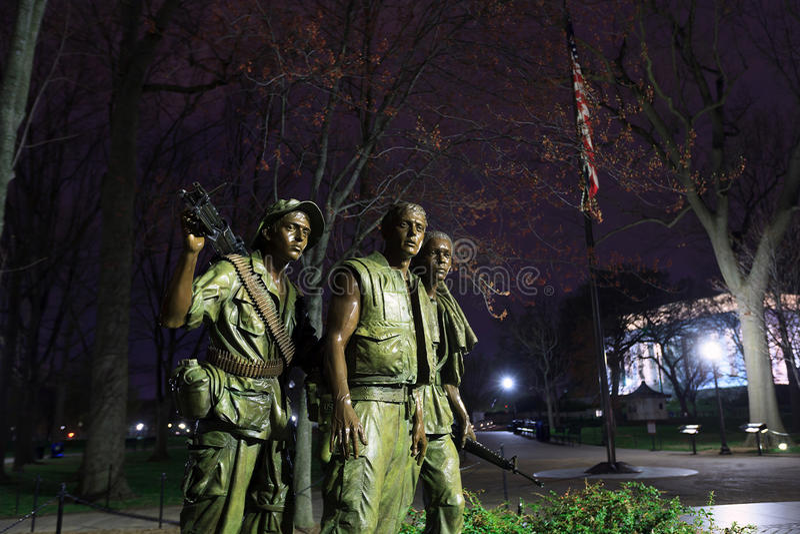 Washington DCVietnam veteran minnesmärke - de tre soldaterna royaltyfri fotografi
