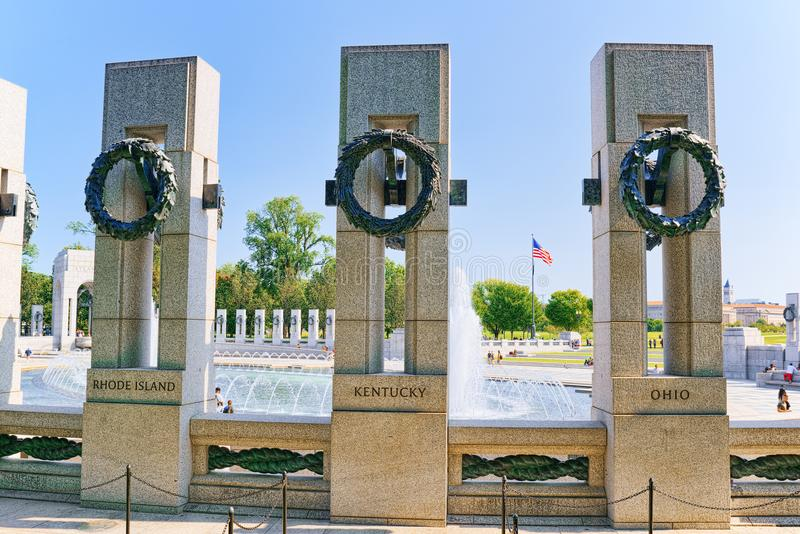 Washington, de V.S., Monument aan Nationaal Wereldoorlog IIgedenkteken royalty-vrije stock fotografie