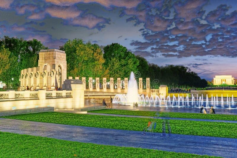 Washington, de V.S., Monument aan Nationaal Wereldoorlog IIgedenkteken stock foto