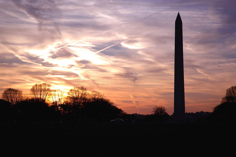 Washington-Denkmalsonnenuntergang stockfotografie