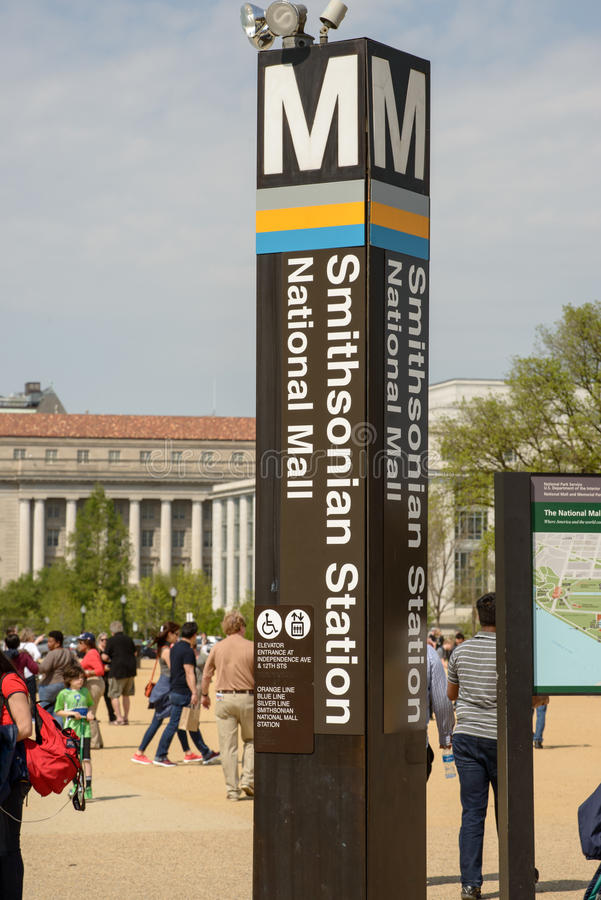 WASHINGTON, DISTRICT OF COLUMBIA - APRIL 14: Washington DC Metro Subway Train Station on April 14, 2017. WASHINGTON, DISTRICT OF COLUMBIA - APRIL 14: View of royalty free stock image
