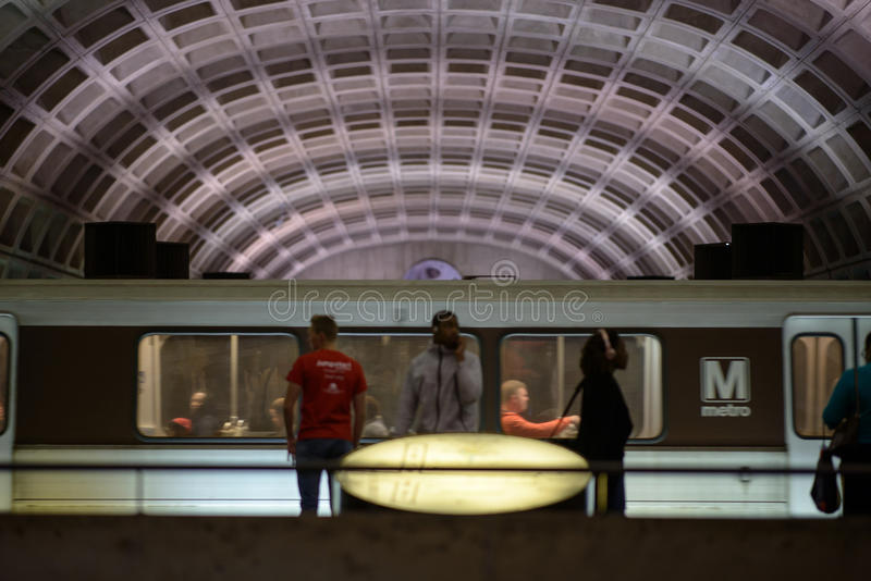 WASHINGTON, DISTRICT OF COLUMBIA - APRIL 14: Washington DC Metro Subway Train Station on April 14, 2017. WASHINGTON, DISTRICT OF COLUMBIA - APRIL 14: View of stock photos