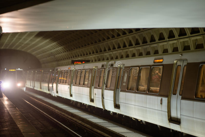 WASHINGTON, DISTRICT OF COLUMBIA - APRIL 14: Washington DC Metro Subway Train Station on April 14, 2017. WASHINGTON, DISTRICT OF COLUMBIA - APRIL 14: View of stock photography
