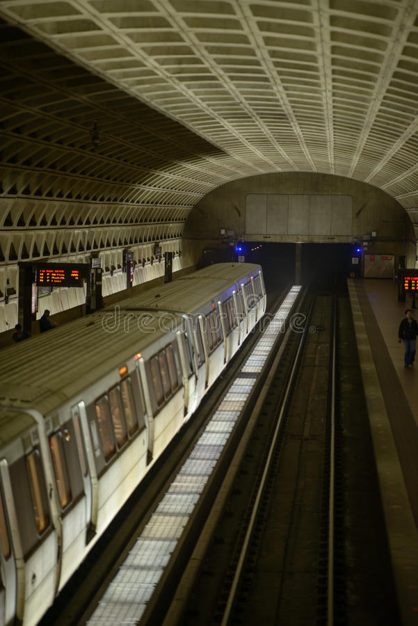 WASHINGTON, DISTRICT OF COLUMBIA - APRIL 14: Washington DC Metro Subway Train Station on April 14, 2017. WASHINGTON, DISTRICT OF COLUMBIA - APRIL 14: View of royalty free stock photo