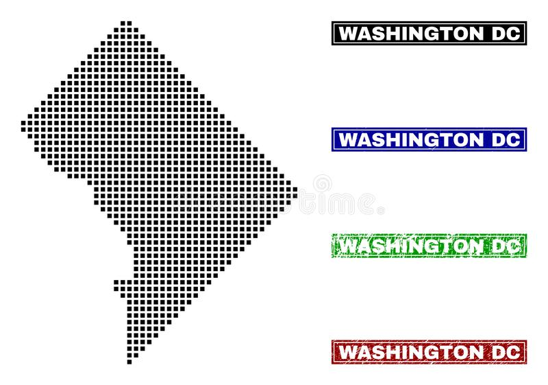Washington District Columbia Map in Dot Style met Grunge-Titelzegels stock illustratie