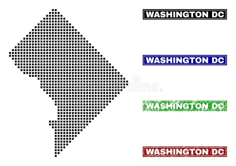 Washington District Columbia Map en Dot Style con los sellos del subtítulo del Grunge stock de ilustración