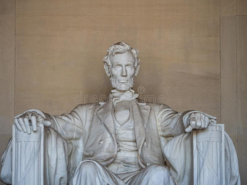 Washington, District of Columbia, United States of America : [ Abraham Lincoln Memorial and his statue inside Greek column temple. Washington DC, District of royalty free stock image
