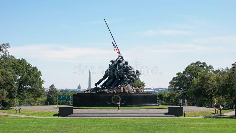 WASHINGTON, DISTRICT OF COLUMBIA, USA- SEPTEMBER 11, 2015: wide view of the iwo jima memorial, washington stock photo