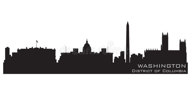 Washington District of Columbiahorisont Detaljerad vektorsilhou vektor illustrationer