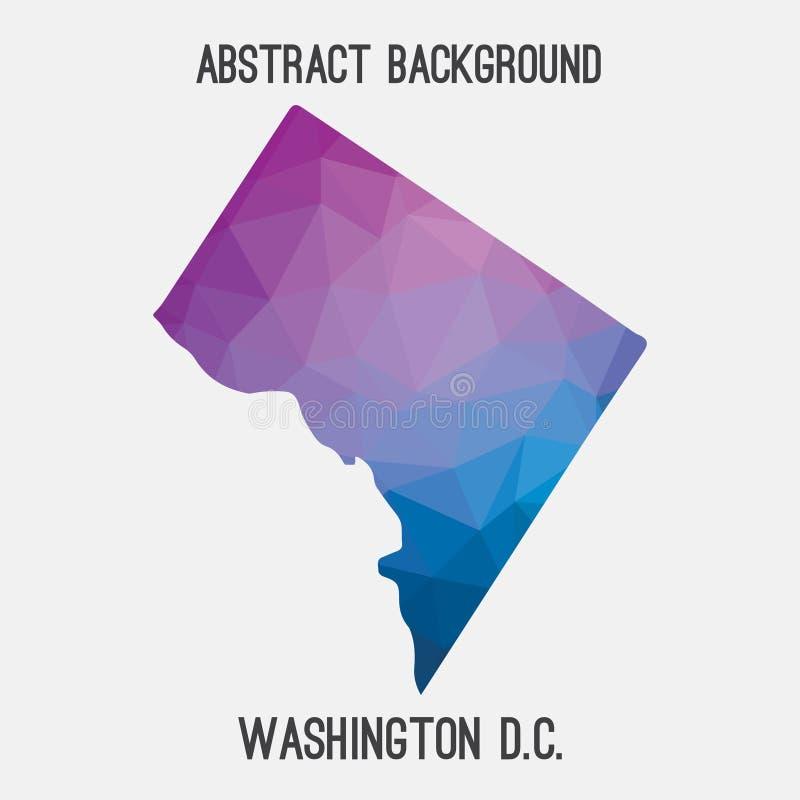 Washington District de carte de Colombie dans polygonal géométrique, style de mosaïque illustration stock