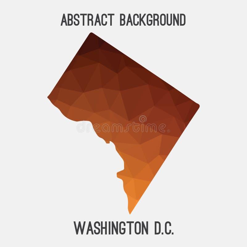Washington District de carte de Colombie dans polygonal géométrique, style de mosaïque illustration libre de droits