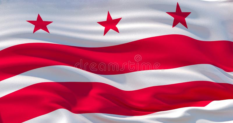 Washington, District de Columbia le drapeau Fond patriotique illustration 3D illustration libre de droits