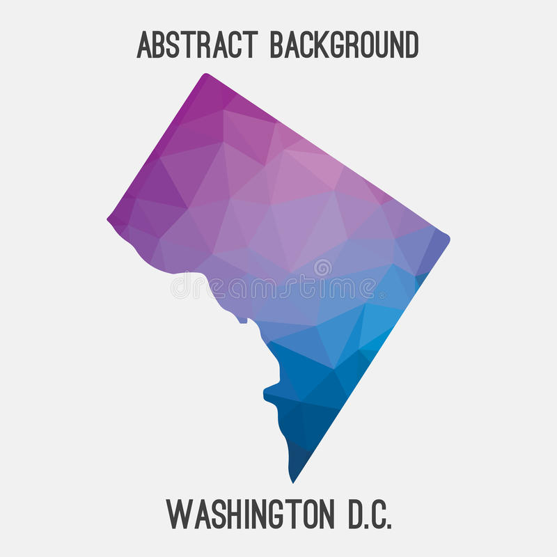 Washington District del mapa de Columbia en poligonal geométrico, estilo del mosaico stock de ilustración