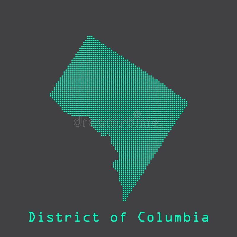 Washington District del mapa del estado de los puntos del extracto de Columbia Estilo punteado libre illustration