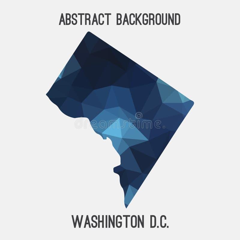 Washington District do mapa em poligonal geométrico, estilo de Colômbia do mosaico ilustração stock