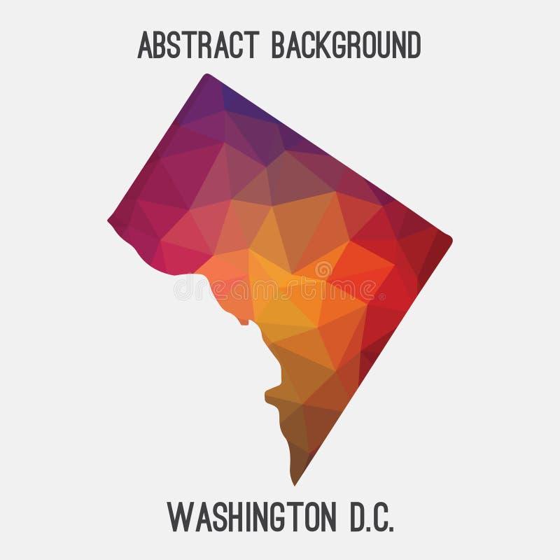 Washington District do mapa em poligonal geométrico, estilo de Colômbia do mosaico ilustração royalty free