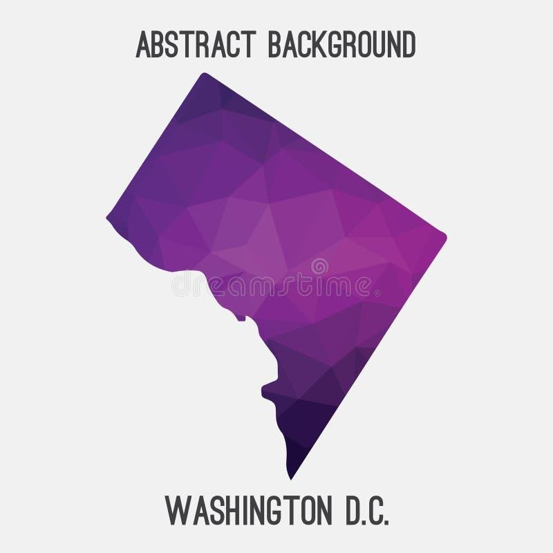 Washington District van de kaart van Colombia in geometrische veelhoekig, mozaïekstijl royalty-vrije illustratie