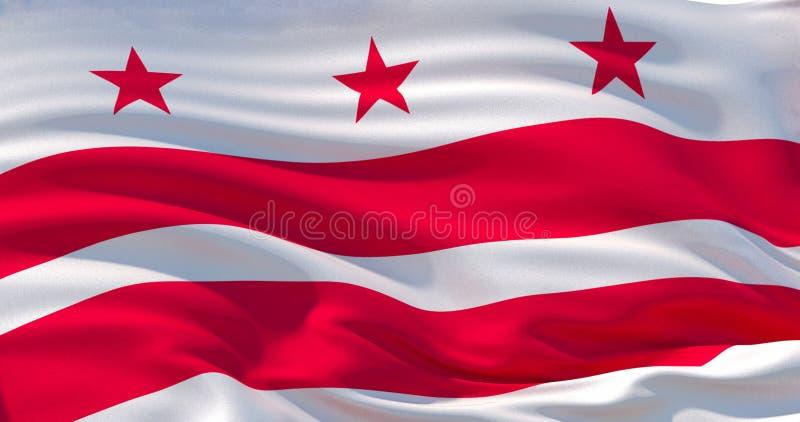 Washington, District van de vlag van Colombia Patriottische Achtergrond 3D Illustratie royalty-vrije illustratie