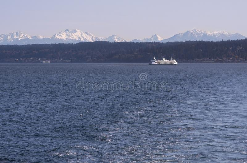 Download Washington Ferry During The Winter Stock Image - Image of cascade, mountains: 90744545