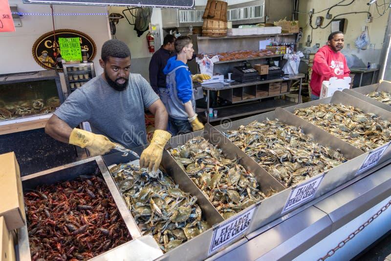 Washington Fish market crab offer stock photos