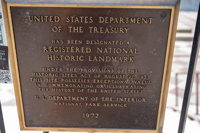 Washington, gelijkstroom - 4 Augustus, 2019: Plaque die van het Geregistreerde Nationale Historische Oriëntatiepunt van het Minis stock afbeeldingen