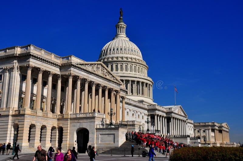Washington, gelijkstroom: De Voorzijde van het Oosten van de V.S. Captiol stock afbeelding