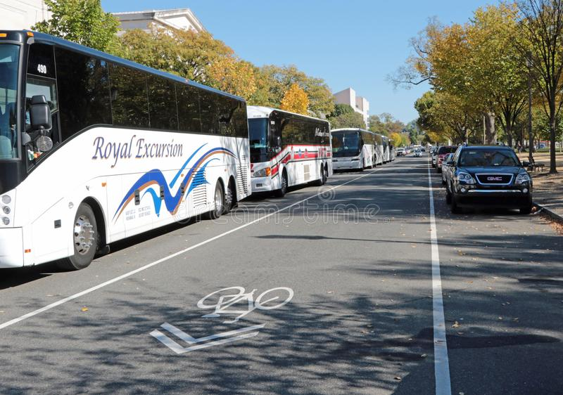 Washington, gelijkstroom-Handvest en Toeristenbussen stock foto's