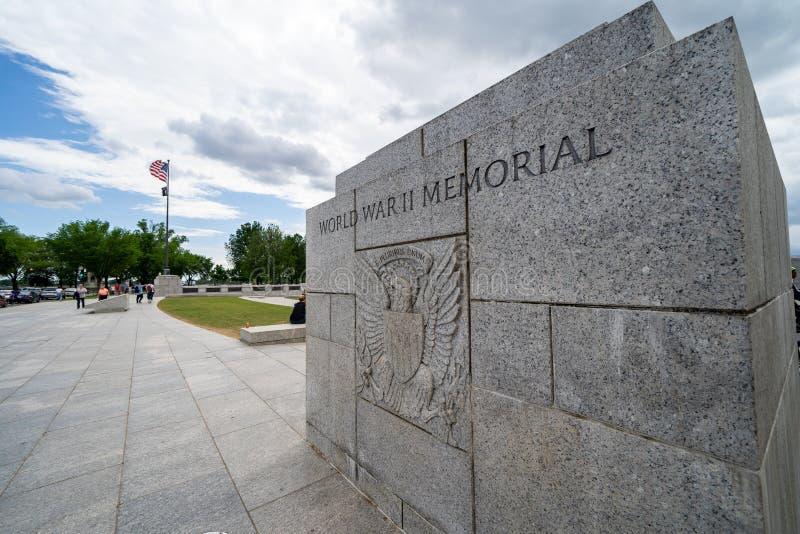 Washington, gelijkstroom - 10 Mei, 2019: Teken voor het Wereldoorlog IIgedenkteken op het National Mall royalty-vrije stock foto's