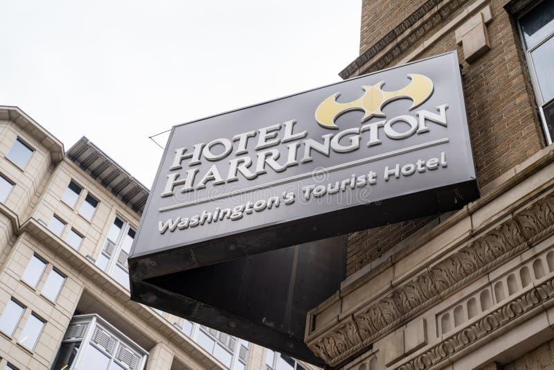Washington, gelijkstroom - 9 Mei, 2019: Teken voor Hotel Harrington, de toeristenhotel van DCS van Washington, een historisch hot royalty-vrije stock fotografie