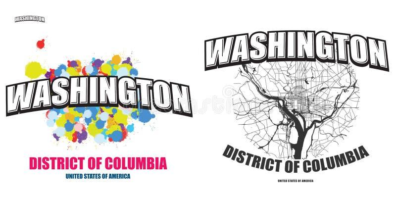 Washington, gelijkstroom, twee embleemkunstwerken vector illustratie