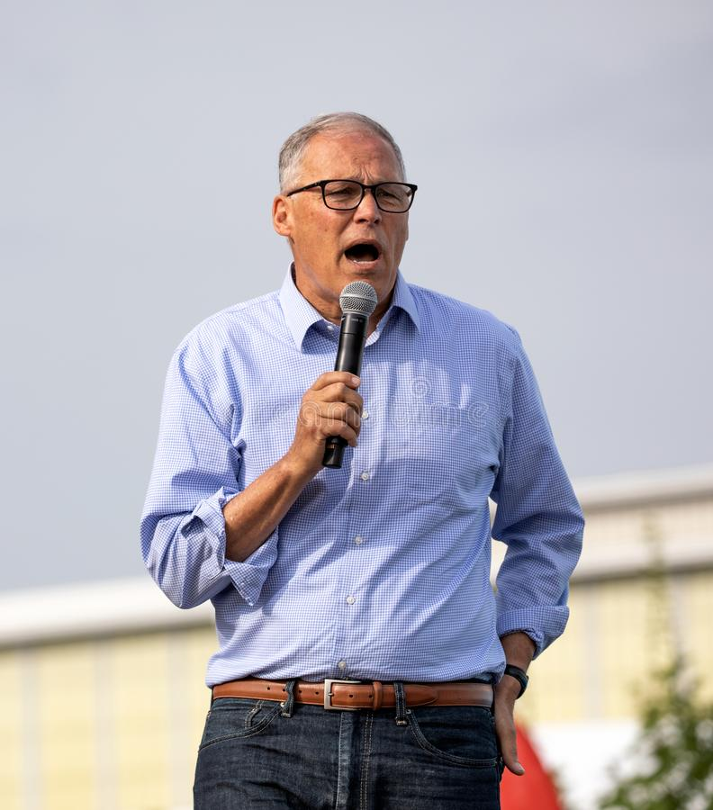 Washington Governor Jay Inslee Campaigning in Iowa stock image