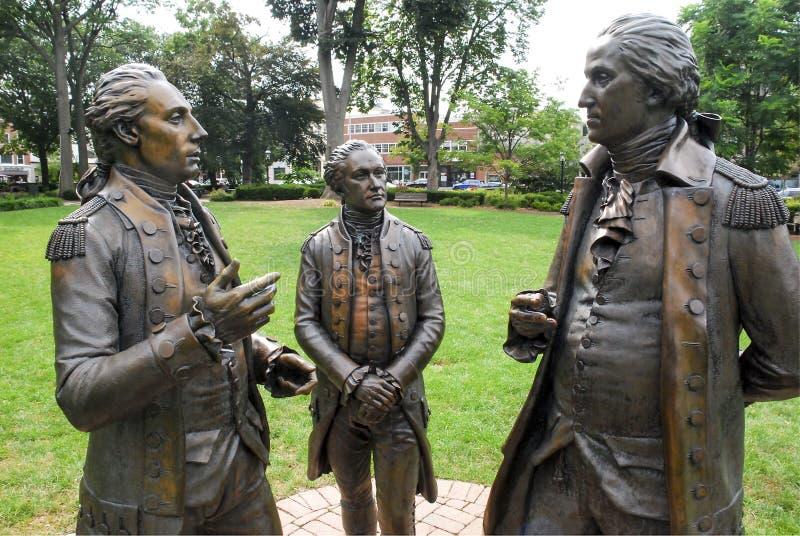 Washington Hamilton Statue. The Alliance sculpture of General George Washington, Alexander Hamilton, Marquis de Lafayette during American Revolution 1777 at royalty free stock images