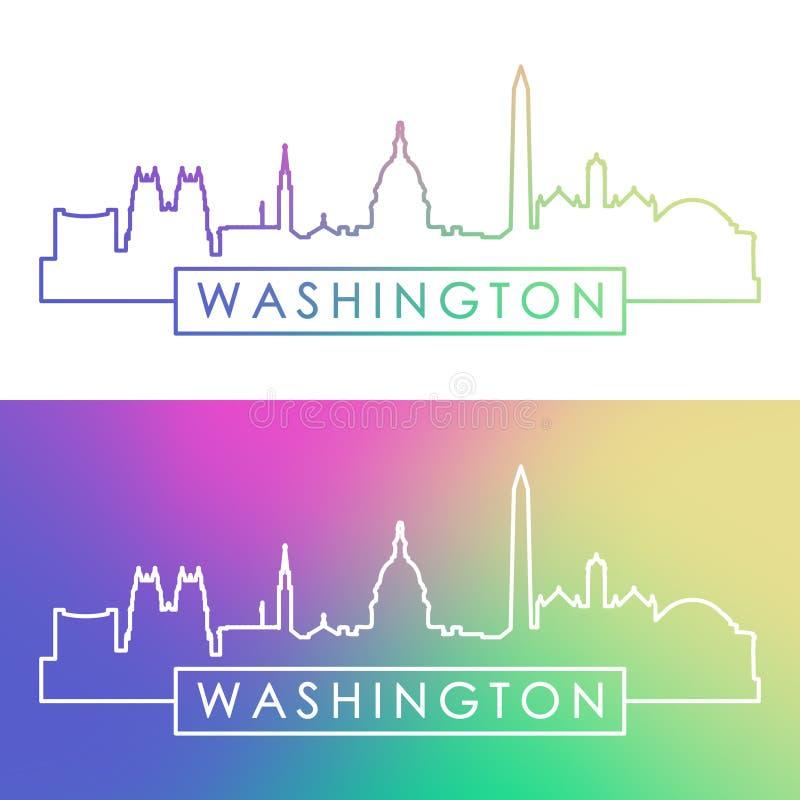 Washington horisont Färgrik linjär stil stock illustrationer