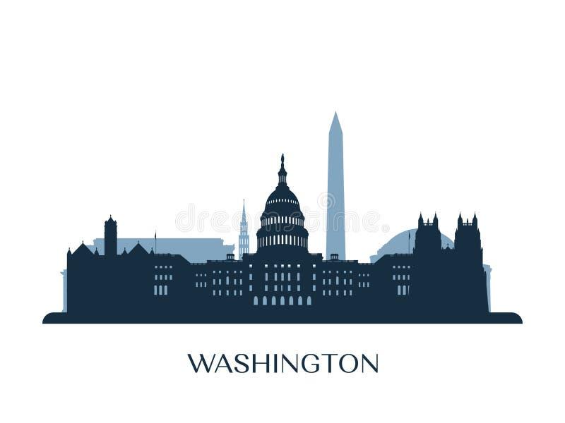 Washington horisont, monokrom kontur vektor illustrationer