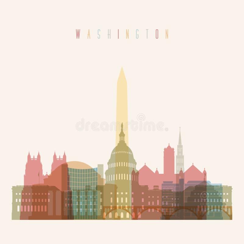 Washington horisontaffisch stock illustrationer