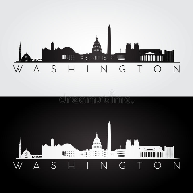 Washington horisontkontur royaltyfri illustrationer