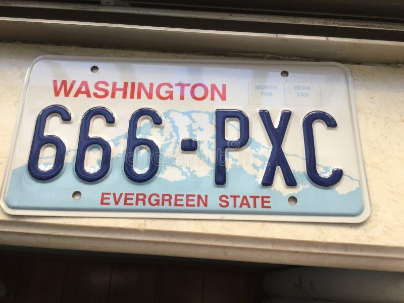 Washington License plate stock photography