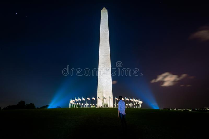 Washington Monument alla notte, in Washington, DC immagine stock libera da diritti