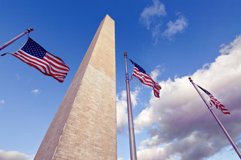 Download The Washington Monument And American Flags Stock Photo - Image: 30621980