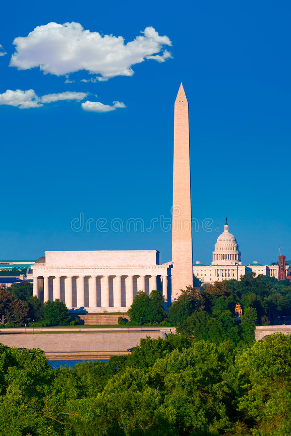 Washington Monument Capitol and Lincoln memorial royalty free stock photography