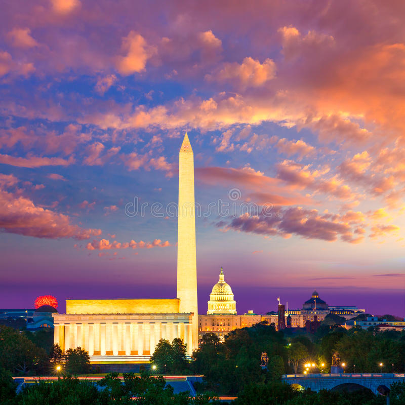 Washington Monument Capitol and Lincoln memorial royalty free stock photo