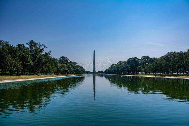 Washington Monument come visto da Lincoln Memorial al centro commerciale nazionale in Washington DC fotografia stock libera da diritti