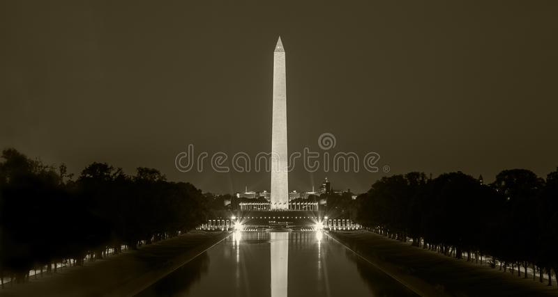 Washington Monument in DC at night, in sepia royalty free stock image