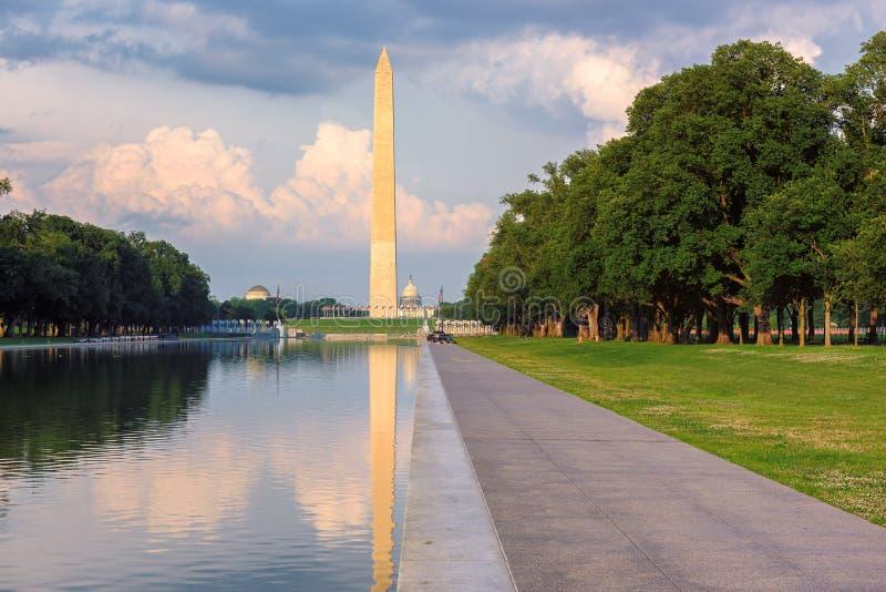 Washington Monument et piscine se reflétante au coucher du soleil, Washington DC image libre de droits